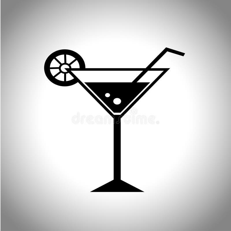 Icona del cocktail di vettore Un vetro con il limone e la paglia illustrazione vettoriale