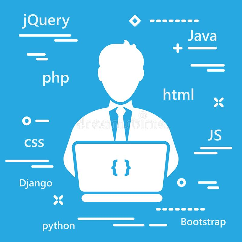 Icona del codificatore con i linguaggi di programmazione per sviluppo di web nel tre royalty illustrazione gratis