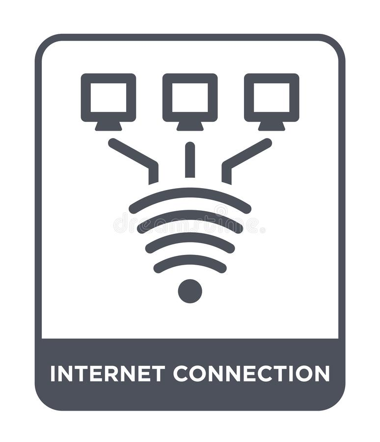 icona del collegamento a Internet nello stile d'avanguardia di progettazione Icona del collegamento a Internet isolata su fondo b illustrazione vettoriale