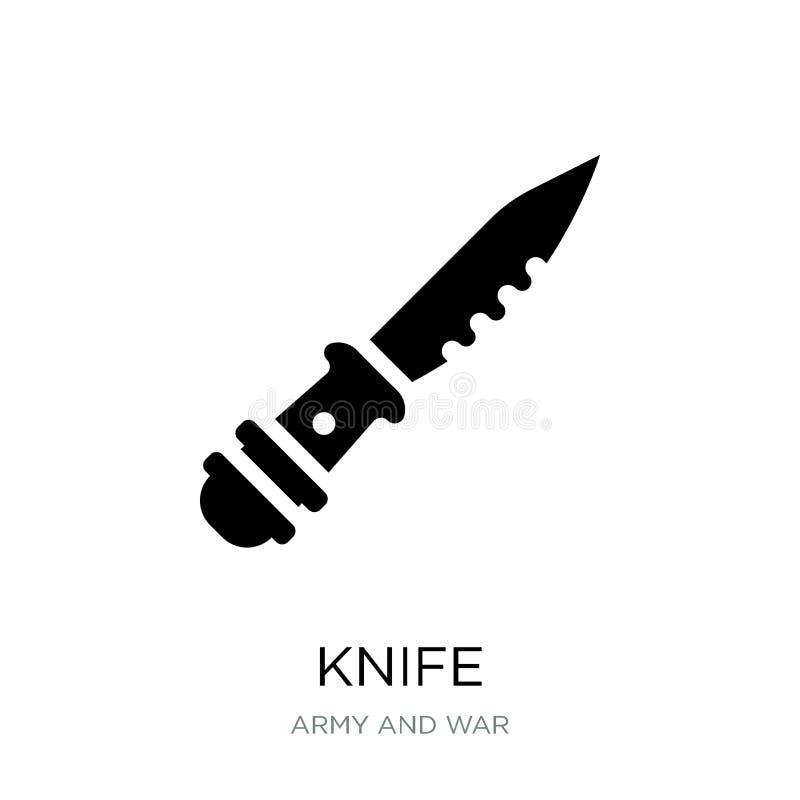 icona del coltello nello stile d'avanguardia di progettazione Icona del coltello isolata su fondo bianco simbolo piano semplice e royalty illustrazione gratis
