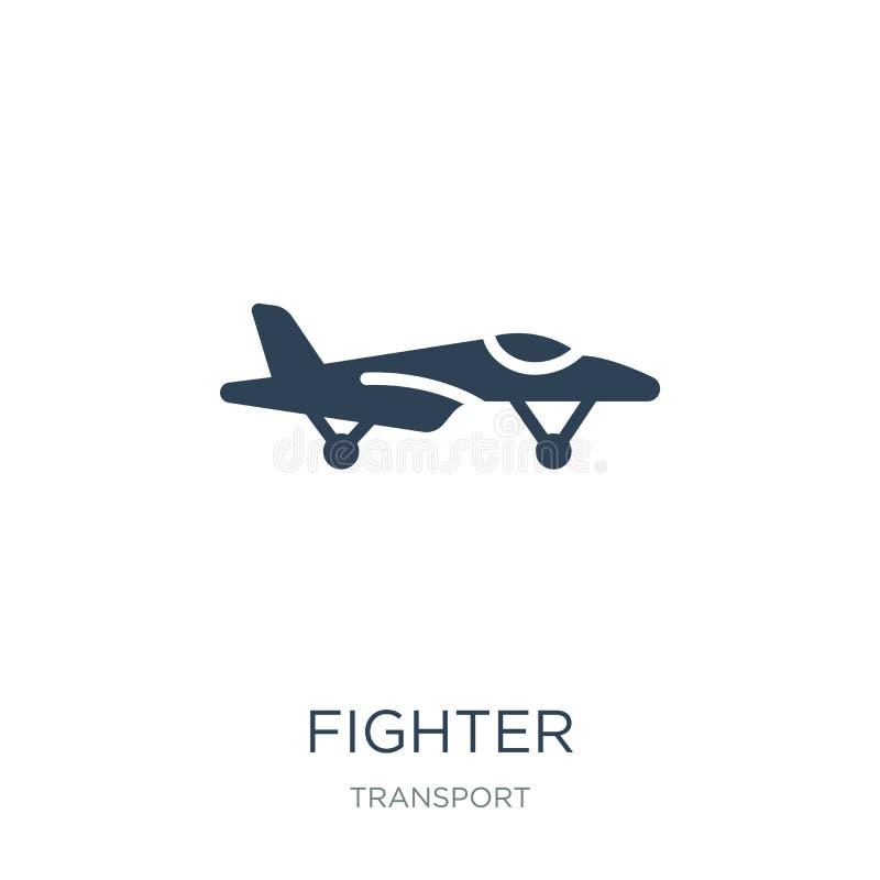 icona del combattente nello stile d'avanguardia di progettazione icona del combattente isolata su fondo bianco simbolo piano semp illustrazione vettoriale