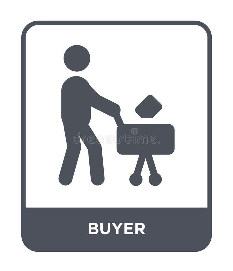 icona del compratore nello stile d'avanguardia di progettazione icona del compratore isolata su fondo bianco simbolo piano sempli illustrazione di stock