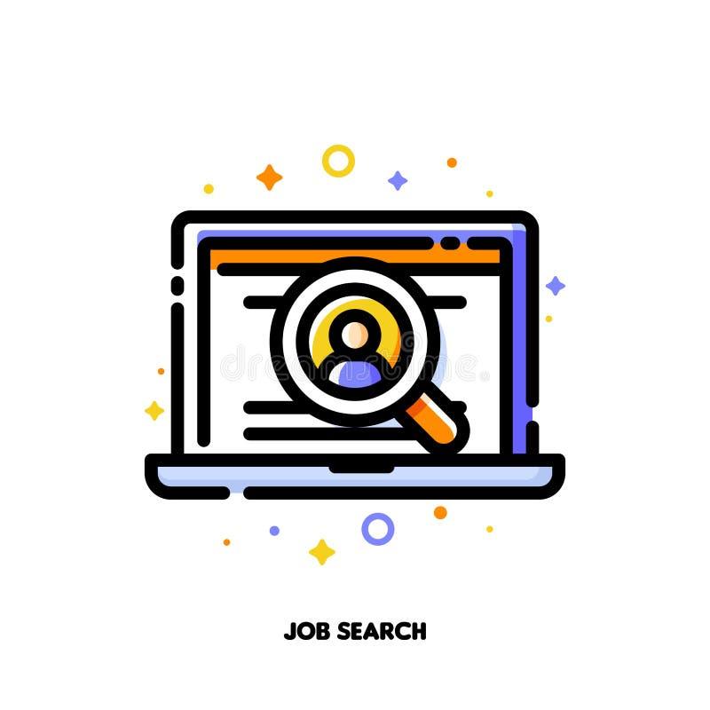 Icona del computer portatile con il profilo dei candidati dentro la lente per il concetto di ricerca di lavoro o di assunzione de illustrazione vettoriale