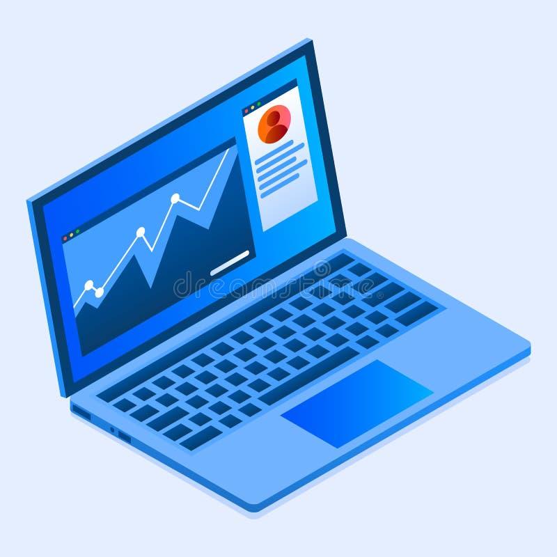 Icona del computer portatile di finanza, stile isometrico royalty illustrazione gratis