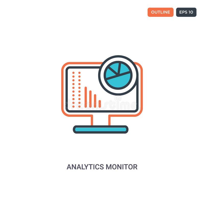 2 icona del concetto di linea del vettore per l'analisi dei colori isolata due icona a forma di contorno di Analytics Monitor con royalty illustrazione gratis