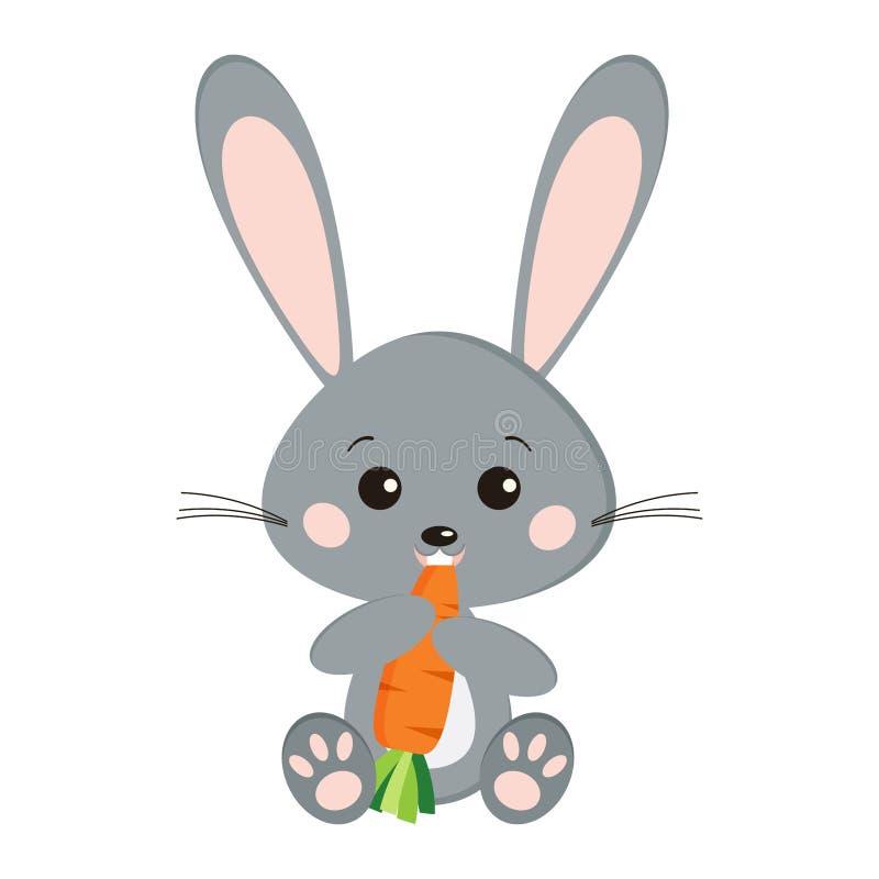 Icona del coniglio di coniglietto grigio dolce sveglio isolato nella posa di seduta con la carota in zampa royalty illustrazione gratis