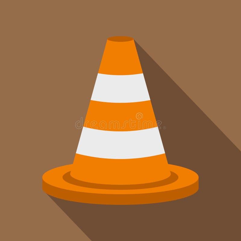 Icona del cono di traffico, stile piano illustrazione vettoriale