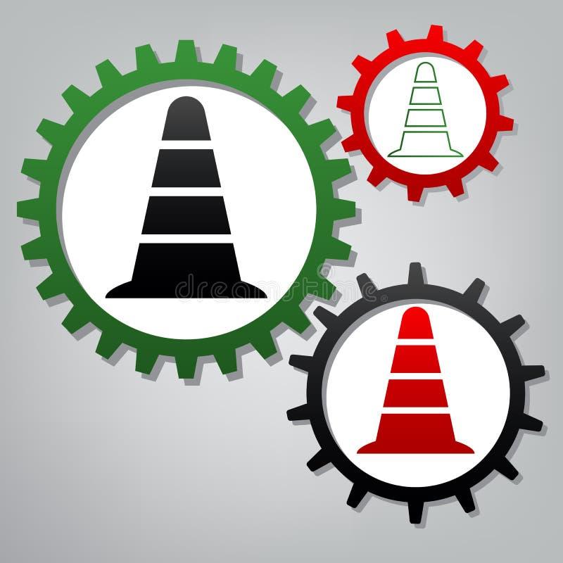 Icona del cono di traffico stradale Vettore Tre ingranaggi collegati con le icone royalty illustrazione gratis