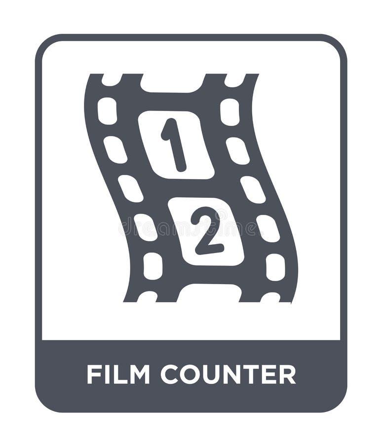 icona del contatore del film nello stile d'avanguardia di progettazione icona del contatore del film isolata su fondo bianco icon illustrazione di stock