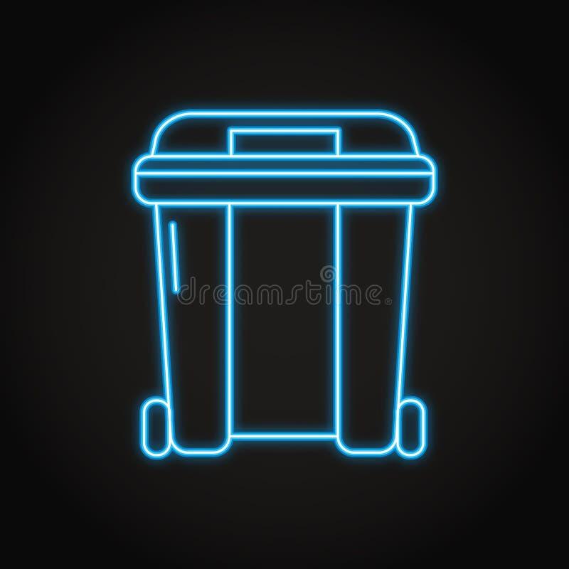 Icona del contenitore dell'immondizia nella linea stile al neon illustrazione di stock