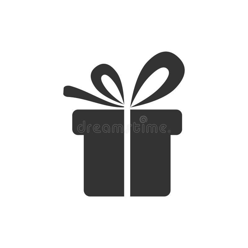 Icona del contenitore di regalo nello stile piano Illustrazione attuale di vettore del pacchetto su fondo isolato bianco Concetto illustrazione di stock