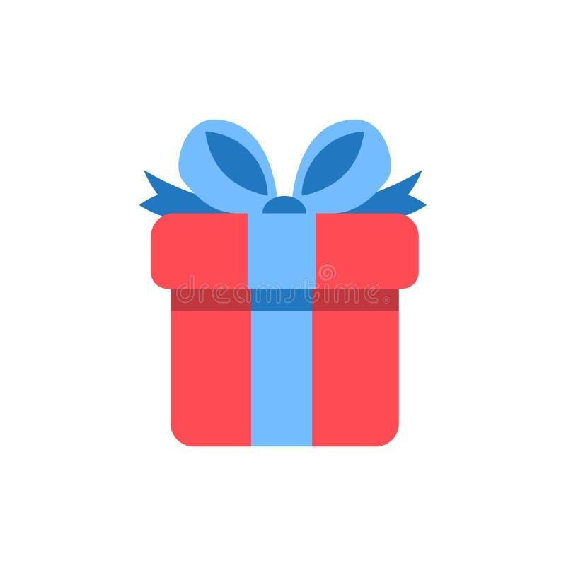 Icona del contenitore di regalo - simbolo grafico attuale di festa - icona del giftbox - illustrazione piana di vettore isolata s royalty illustrazione gratis