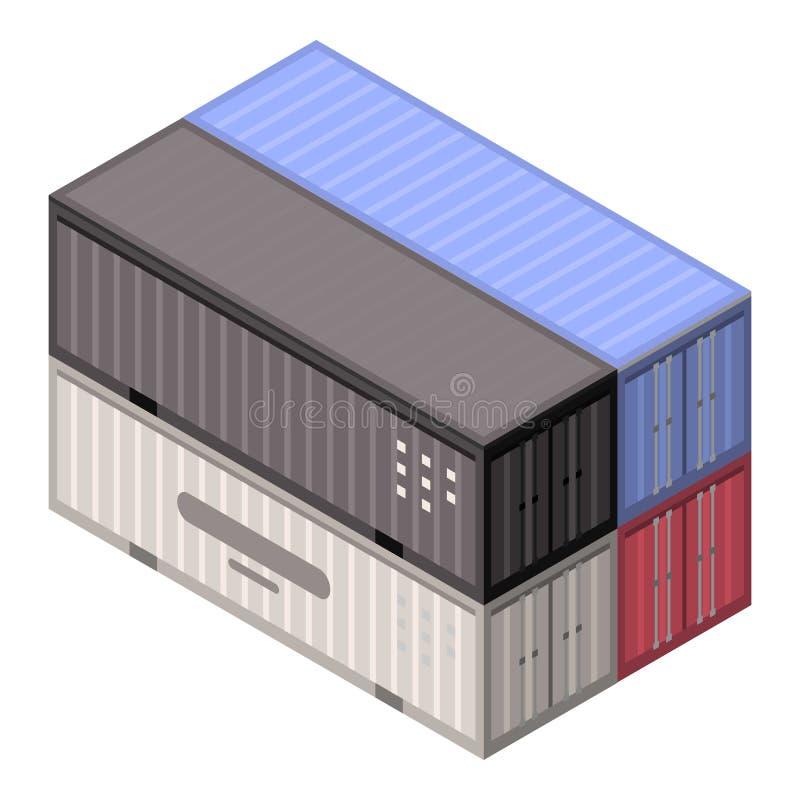 Icona del contenitore del porto della pila, stile isometrico illustrazione vettoriale