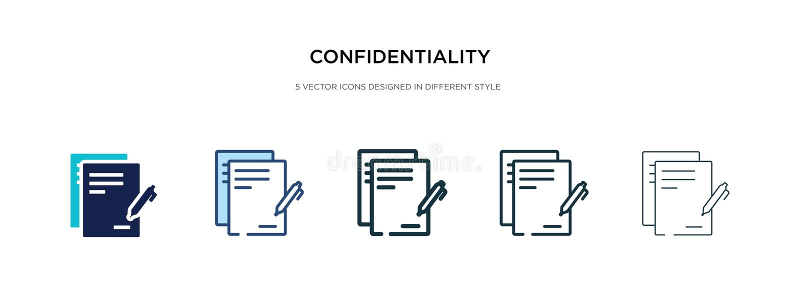 Icona del contratto di riservatezza in illustrazione vettoriale di stile diverso vettore di accordo di riservatezza a due colori  royalty illustrazione gratis