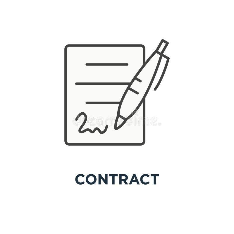 Icona del contratto firma del documento, mucchio dei documenti cartacei con la firma e progettazione di simbolo di concetto della illustrazione di stock