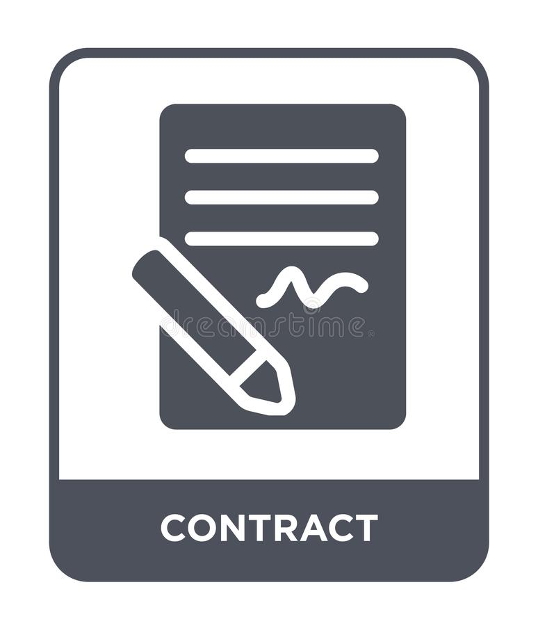icona del contratto nello stile d'avanguardia di progettazione Icona del contratto isolata su fondo bianco piano semplice e moder royalty illustrazione gratis