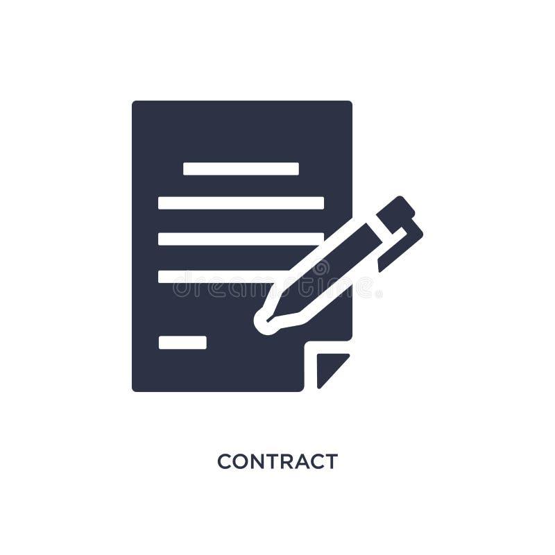 Icona del contratto su fondo bianco Illustrazione semplice dell'elemento dal concetto delle risorse umane illustrazione vettoriale