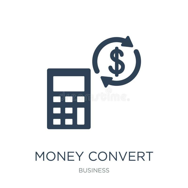 icona del convertito dei soldi nello stile d'avanguardia di progettazione icona del convertito dei soldi isolata su fondo bianco  illustrazione vettoriale