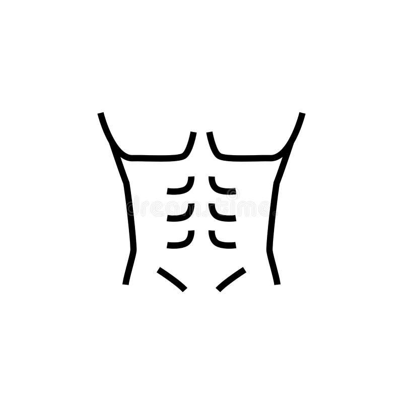 Icona del corpo dell'uomo muscolare illustrazione del culturista dell'uomo grafico semplice di monoline illustrazione vettoriale