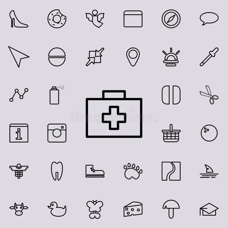 Icona del corredo di pronto soccorso Insieme dettagliato della linea minimalistic icone Progettazione grafica premio Una delle ic illustrazione di stock