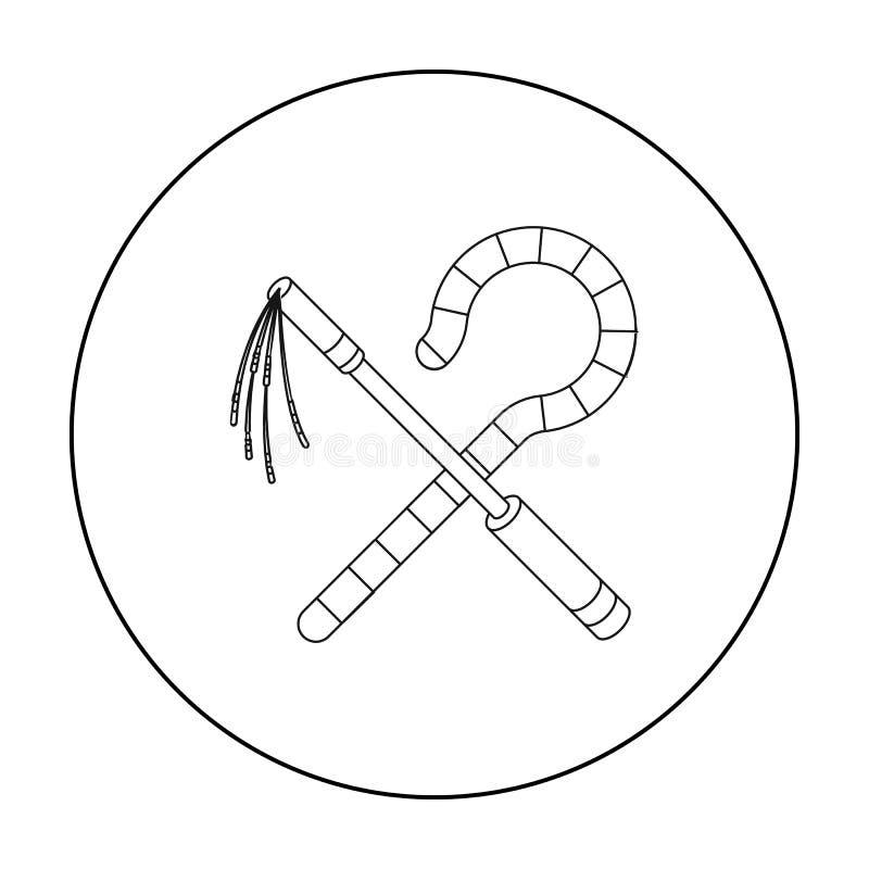 Icona del correggiato e del truffatore nello stile del profilo isolata su fondo bianco Illustrazione di vettore delle azione di s illustrazione vettoriale