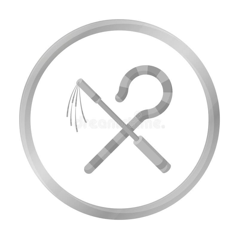 Icona del correggiato e del truffatore nello stile monocromatico isolata su fondo bianco Illustrazione di vettore delle azione di illustrazione vettoriale