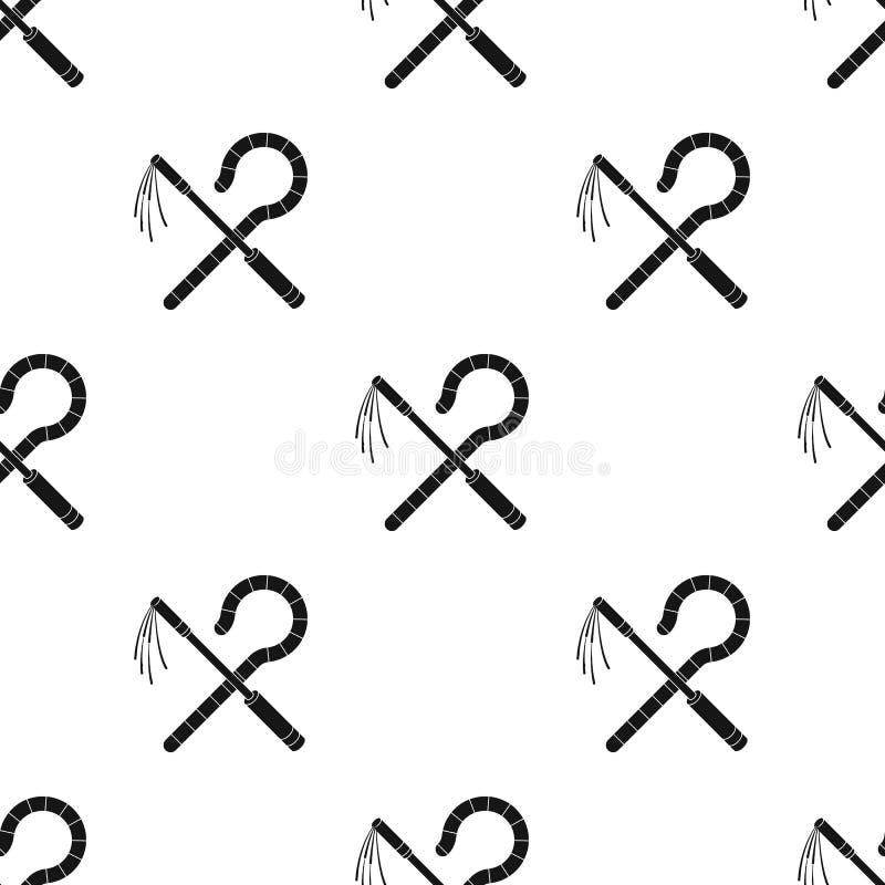 Icona del correggiato e del truffatore nello stile nero isolata su fondo bianco Illustrazione di vettore delle azione del modello illustrazione vettoriale
