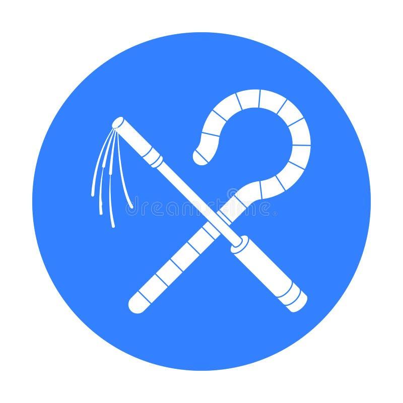 Icona del correggiato e del truffatore nello stile nero isolata su fondo bianco Illustrazione di vettore delle azione di simbolo  illustrazione vettoriale