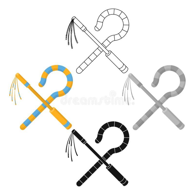 Icona del correggiato e del truffatore nel fumetto, stile nero isolato su fondo bianco Illustrazione di vettore delle azione di s royalty illustrazione gratis