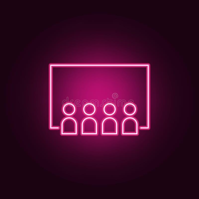 icona del corridoio del pubblico del cinema Elementi del cinema nelle icone al neon di stile E royalty illustrazione gratis