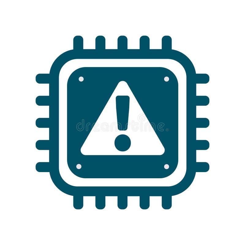 Icona del CPU di vettore con sicurezza cyber del segno di allarme illustrazione vettoriale