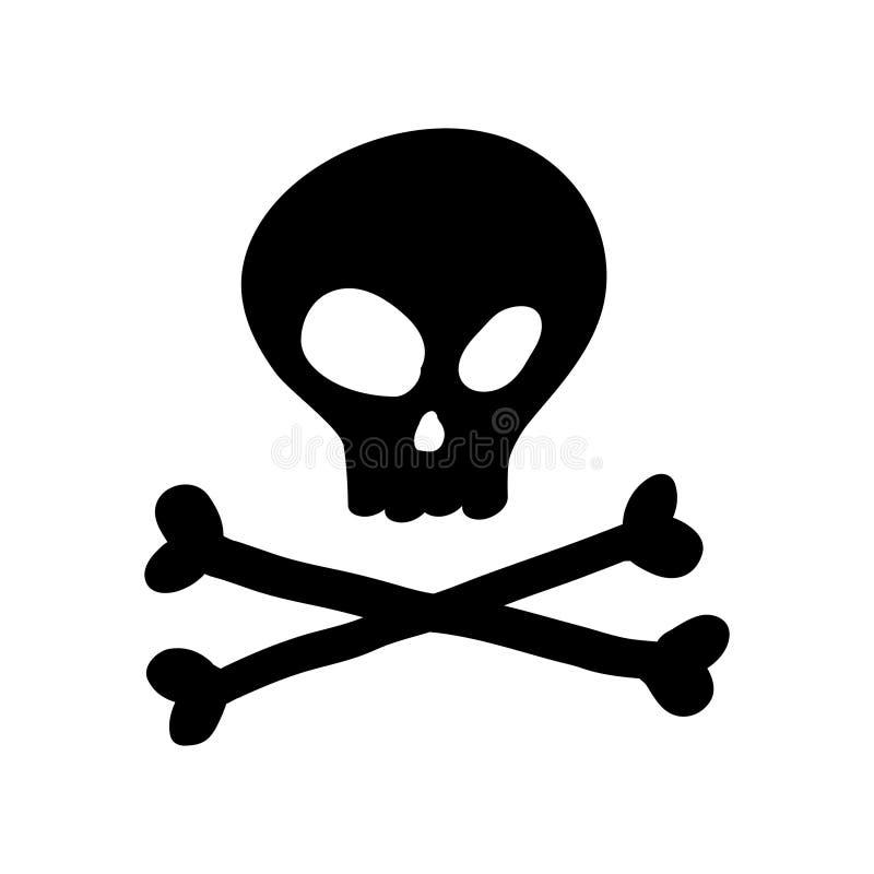 Icona del cranio isolata Illustrazione disegnata a mano illustrazione di stock