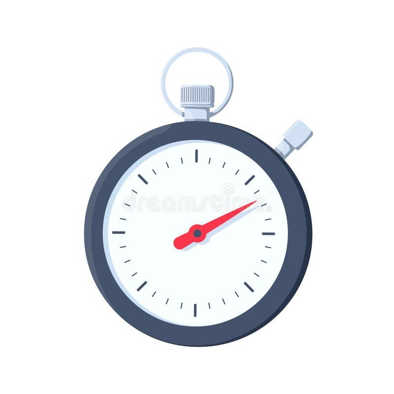 Icona del cronometro Illustrazione piana dell'icona di vettore del cronometro per web design Temporizzatore di sport sui concorsi royalty illustrazione gratis