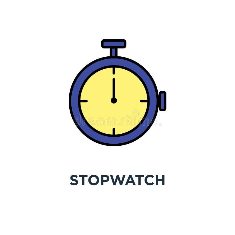 Icona del cronometro temporizzatore meccanico, conto alla rovescia, termine, progettazione di concetto e lineare di simbolo, orol illustrazione vettoriale