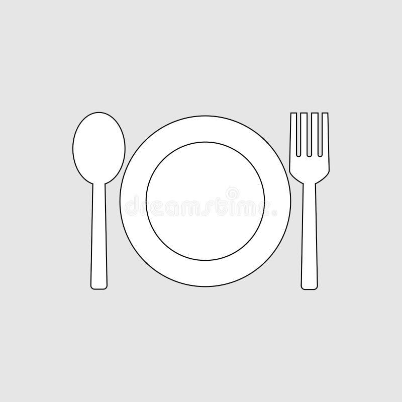Icona del cucchiaio e della forchetta illustrazione di stock