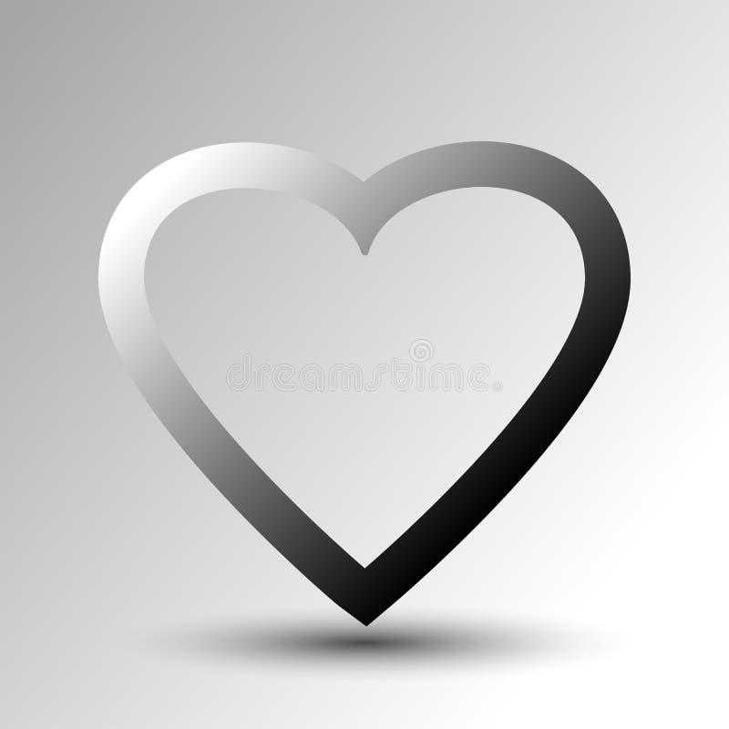 Icona del cuore con ombra Illustrazione di vettore illustrazione vettoriale