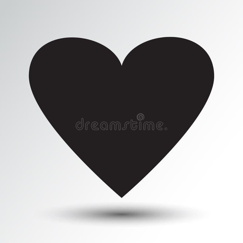 Icona del cuore con ombra Illustrazione di vettore illustrazione di stock