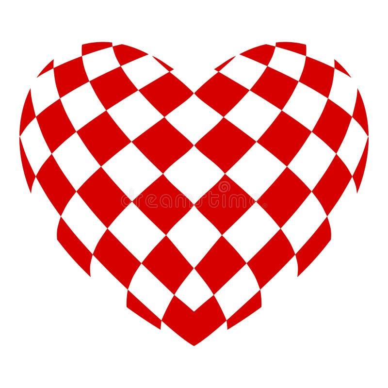 Icona del cuore di scacchi, stile semplice illustrazione di stock