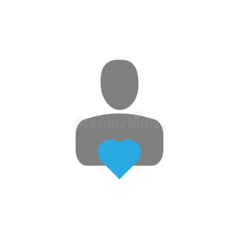Icona del cuore e del datore Elemento dell'icona dell'interfaccia utente per i apps mobili di web e di concetto L'icona dettaglia royalty illustrazione gratis