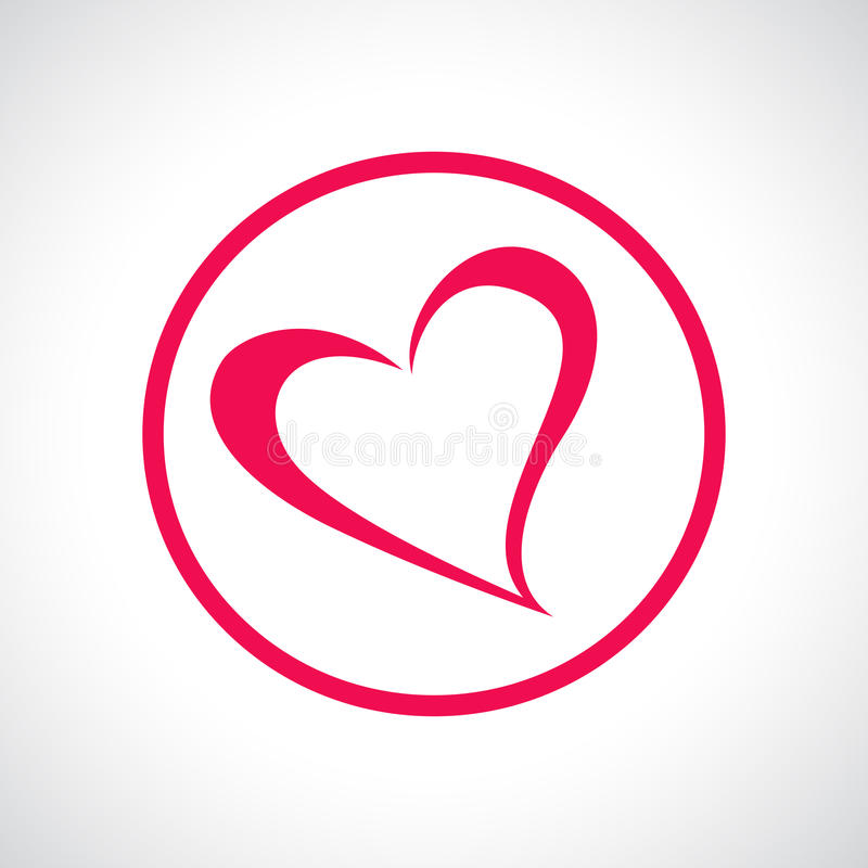 Icona del cuore Simbolo piano rosa in un cerchio illustrazione vettoriale