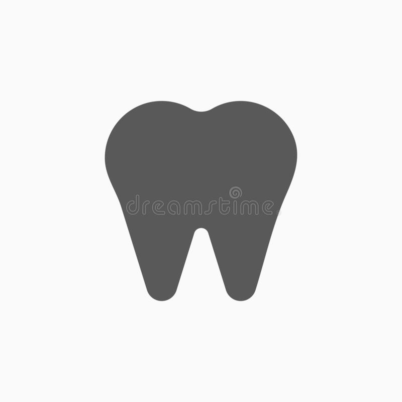 Icona del dente, denti, dentari, ammaccatura illustrazione di stock
