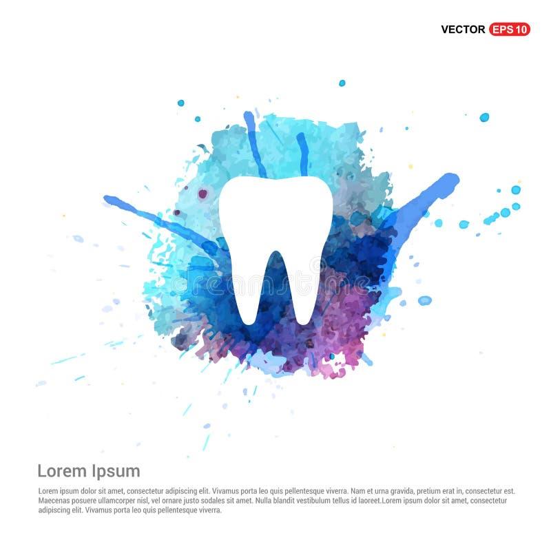 Icona del dente di vettore - fondo dell'acquerello illustrazione vettoriale