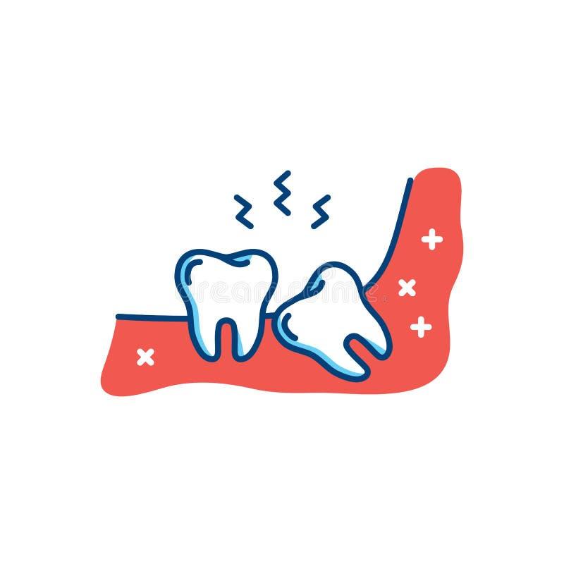 Icona del dente del giudizio o terzo molare, mal di denti, dolore della mandibola Illustrazione piana di vettore royalty illustrazione gratis