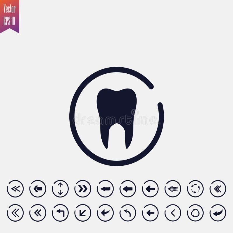 icona del dente, illustrazione di vettore Icona piana freccia illustrazione di stock