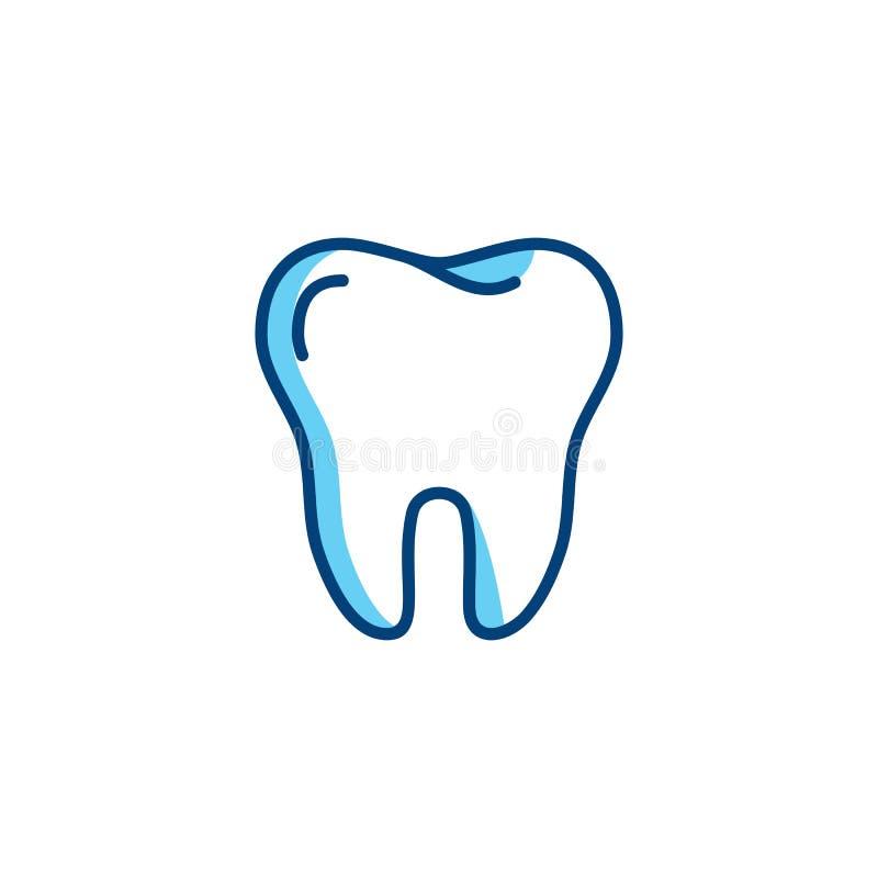Icona del dente Logo variopinto del dentista, cure odontoiatriche o linea dentaria icona della clinica Illustrazione di vettore illustrazione vettoriale