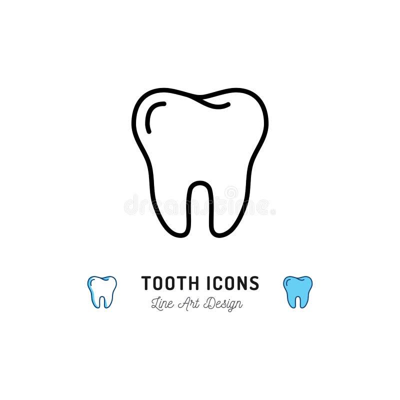 Icona del dente, segno dei denti Logo di cure odontoiatriche, linea dentaria icona della clinica Illustrazione di vettore royalty illustrazione gratis