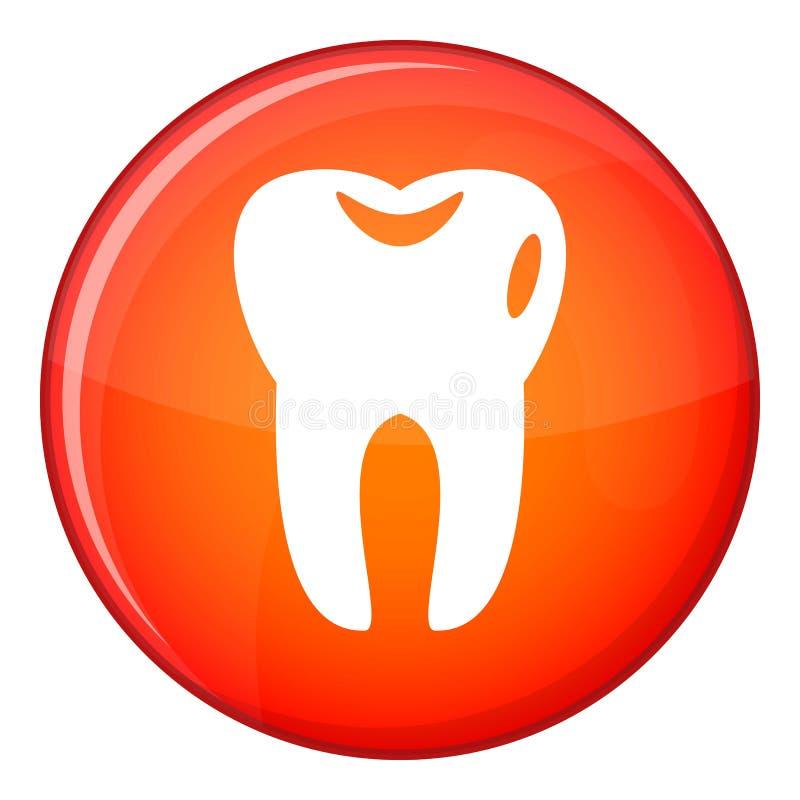 Icona del dente, stile piano illustrazione vettoriale