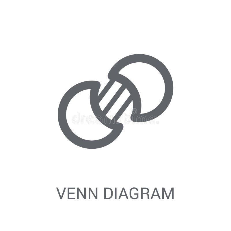 Icona del diagramma di Eulero-Venn Concetto d'avanguardia di logo del diagramma di Eulero-Venn sul BAC bianco royalty illustrazione gratis