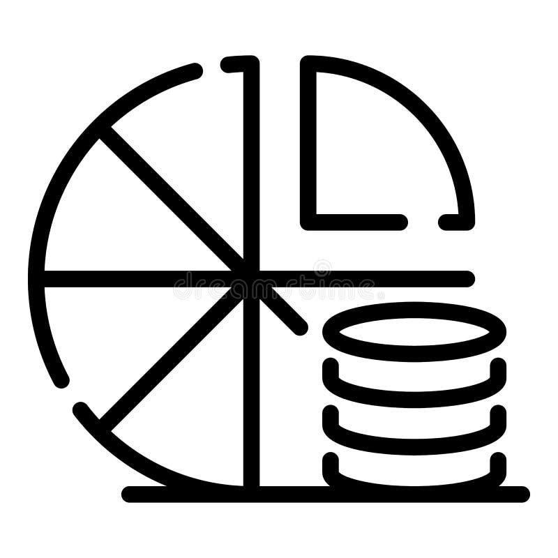 Icona del diagramma a torta della moneta, stile del profilo royalty illustrazione gratis