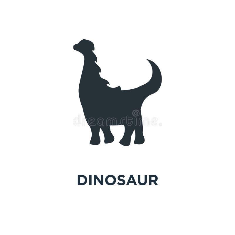 Icona del dinosauro siluetta del brachiosaurus sul simbolo bianco di concetto illustrazione vettoriale